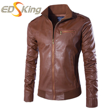 New Tide 2017 Fashion Men Leather Jacket Solid Brown Coffee Stand Collar Slim Fit Leather Jackets For Man Chaquetas Hombre