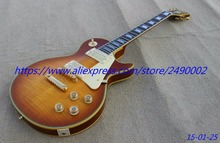 Best Electric guitar LP custom,thin brown burst,yellowish binding,ebony fingerboard,fret nibs,Real photo shows
