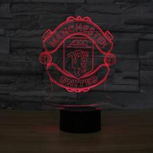 Touch Switch 3D Table Lamp for Bedroom LED Night Light Lighting Manchester Red Football Club LED Luminaria Lava Lamp Fans Gift