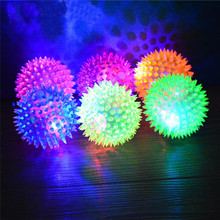 1PC flashing light Puppy Dog Cat Pet Hedgehog Rubber Ball Bell Sound Ball Fun Play Toy led light squeaky chewing balls sale(China)