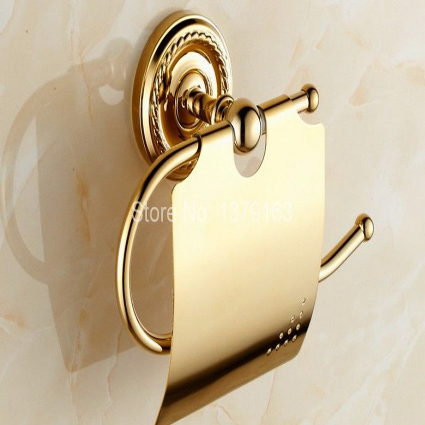 Bathroom Accessory Gold Color Brass Wall Mounted Bathroom Fitting Toilet Paper Roll Holder  aba604<br>