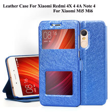 Flip Leather Phone Bag Cases For Xiaomi Redmi 4X 4A 4 3S 3X 3 Pro Note 4 3 Mi5 Mi6 Cover Case With Window View Protector Shell