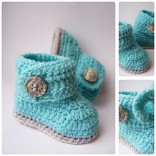 Blue & Gray Baby Infant Booties, Newborn Crochet Shoes,Crochet Baby Boots for babies, Baby shower gift,choose size:9cm 10cm 11cm
