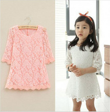 Children girls Floral princess lace dress summer kids party dresses for girls wedding clothing costume pink white red DY086B