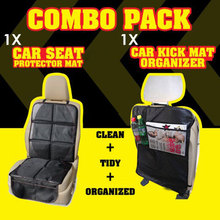 Child Car Seat Protector Mat PLUS Car Kick Mat Organizer Auto Combo Pack -Completely Protect the Back Seats  Get 2 Protectors