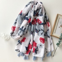 180 * 100 cm 2017 New Mercerized Cotton Women Long Tassels Print Scarf Women's Slim Summer New Cotton Acrylic Pashminas shawl