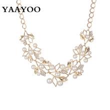 YAAYOO  Imitation Pearl Rhinestone Flowers Leaves Metal Yellow/White Color Statement Necklace Women Jewelry