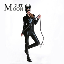 MOONIGHT Adult Costume Cat Women Synthetic Leather Jumpsuit Night Prowler Sexy Catwoman Catsuit Black Cat Halloween Costume(China)