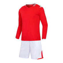Nice Colorful Red New Men's Long Full Sleeve Soccer Sets Football Team Clubs Blank Jerseys Custom Uniforms Shirts Free Shipping(China)