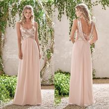 Sparkly Sequined Beaded Chiffon Bridesmaid Dresses Cheap Long Spaghetti Pleated Wedding Guest Dress Maid of Honor Gowns