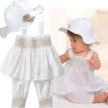 Newbaby 2017 Hot Princess Baby Kids Girls Tops Dress+Pants+Hat 3pcs Party Outfits Set UK Stock Age 0-24M