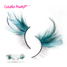 1 Pair Eyelash Fashion Black Green Red Feather False Eyelashes Stage Party Arts Exaggerated Fake Eye Lashes Beauty Makeup Tools(China)