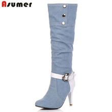 ASUMER Plus Size Pointed Toe Women Spring Autumn High Heels Denim Knee High Boots Lady 2016 New Fashion Jean Long Boots(China)