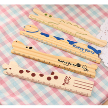 5 pcs/lot 15cm Fresh Candy Color animal Wooden Cute Stationery Lace Brown Wood book mark penstand used student kid Ruler Sewing(China)