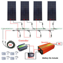 640W 12V Off Grid System Kit 4x 160W Solar Panel 1KW Pure Sine Wave Inverter(China)