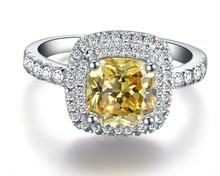 1CT Luxury Cushion Cut 18K White Gold Ring Yellow Diamond Au750 Gold Female Colorful Stone Women Finger Ring