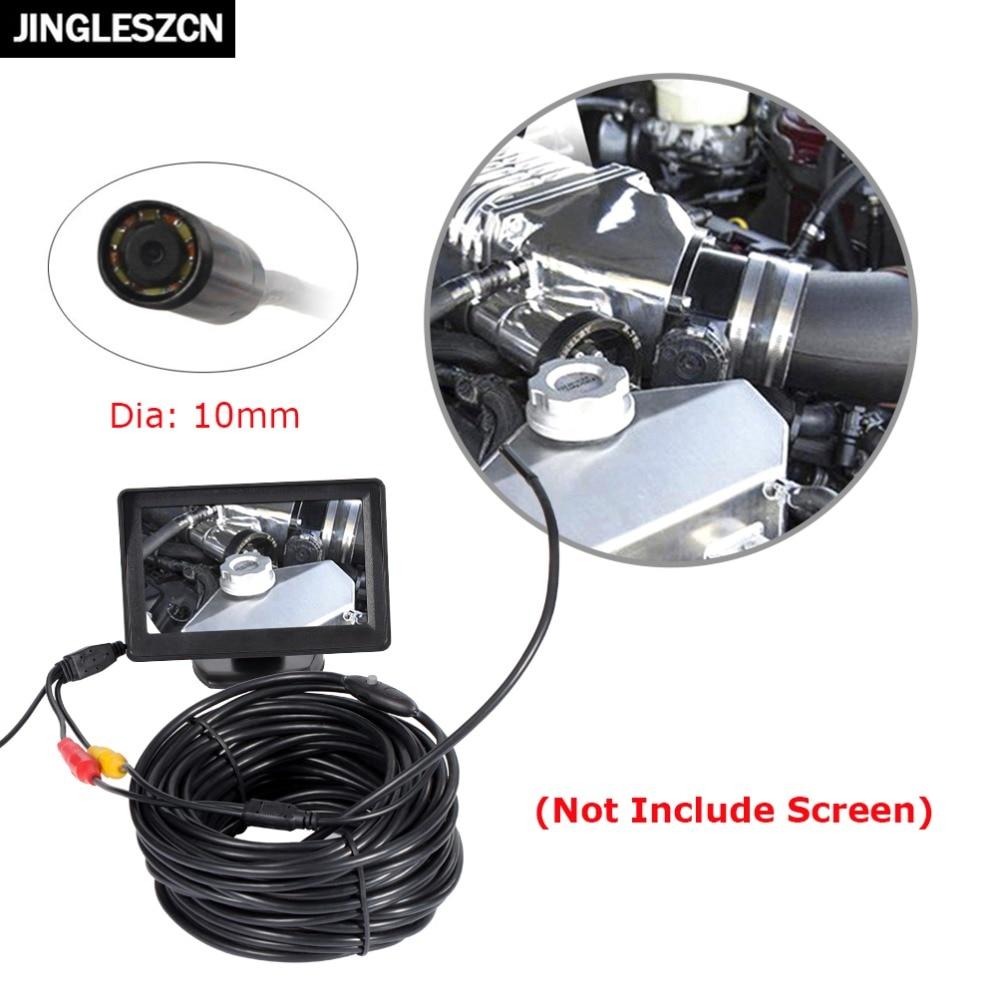 JINGLESZCN AV Endoscope Mini Camera 12V 10mm Dia 20m Length IP66 Waterproof 6 LED Snake Inspection Borescope Pipe Cam NO Screen<br>