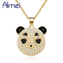 Almei Gold color Necklaces & Pendants Panda Necklace Women Black Animal Pendant Jewelry with Chain Christmas Gifts 5% Off Y316