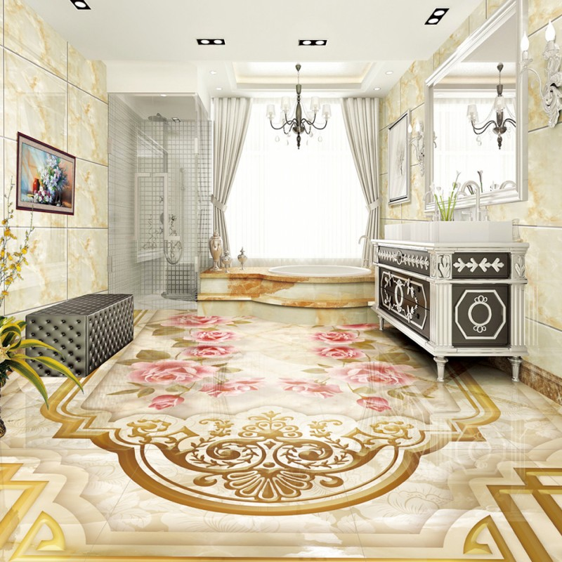Free Shipping Marble pattern Roses Parquet Corridor Bedroom 3D Floor stereo thickened living room bedroom wallpaper<br>