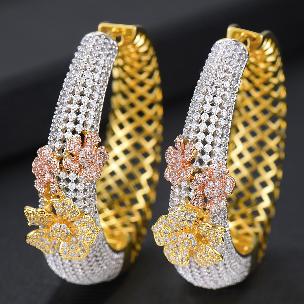 2019 New Arrived Luxury Cubic Zirconia Hoop Earrings Elegant Top Quality Dubai Style Silver Gold Color Flower Statement Earrings