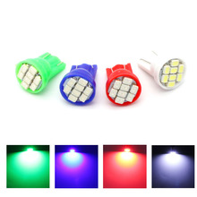 10pcs/lot T10 Auto led car Indicator lighting wedge high bright Factory bulb 8LED SMD 3020/1206 168 192 W5W white/green/red/blue