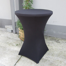 Free Shipping 10pcs Large 80*110cm Black Stretch Bistro Table Cloth Lycra Spandex Cocktail Table Covers(China)
