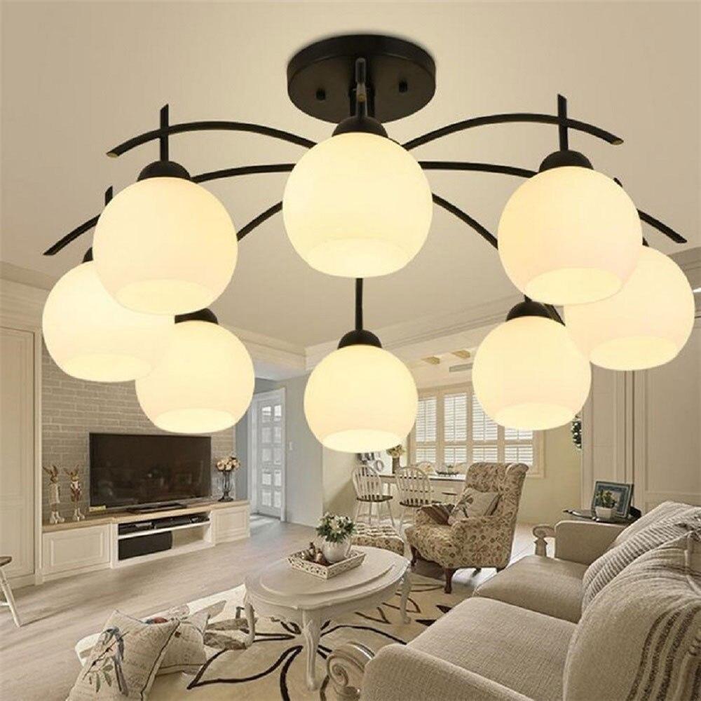 American Iron Frost Glass Ceiling chandelier lustre Scandinavian modern restaurant lights living room bedroom kitchen art decor<br><br>Aliexpress