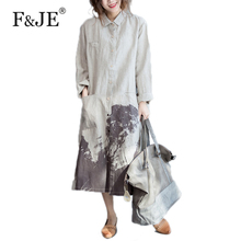 F&JE 2017 Autumn New Arts style Women Loose Casual Long Dress Top Quality cotton linen Vintage Ink painting Shirt Dress S252