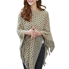 New Arrival Women Sweaters Pullovers Spirng Autumn V Neck Striped Knitted Cape Poncho Loose Casual Outerwear Pull Femme