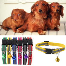 1Pc Cute Fashion Puppy Kitten Dog Cat Neck Chain Reflective Strap Buckle Nylon Fabric Stripe Pet Collar with Bells(China)