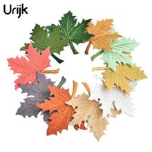 Urijk 2PCs Leaves Iron On Patches For Clothing DIY Embroidered Appliques Clothes Ornaments Swe On Patches Stikers 7.5x7cm(China)