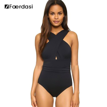 Faerdasi 2017 Sexy Cross Halter Women Swimwear One Piece Swimsuit Black Red Solid Women Bathing Suits S-XXL