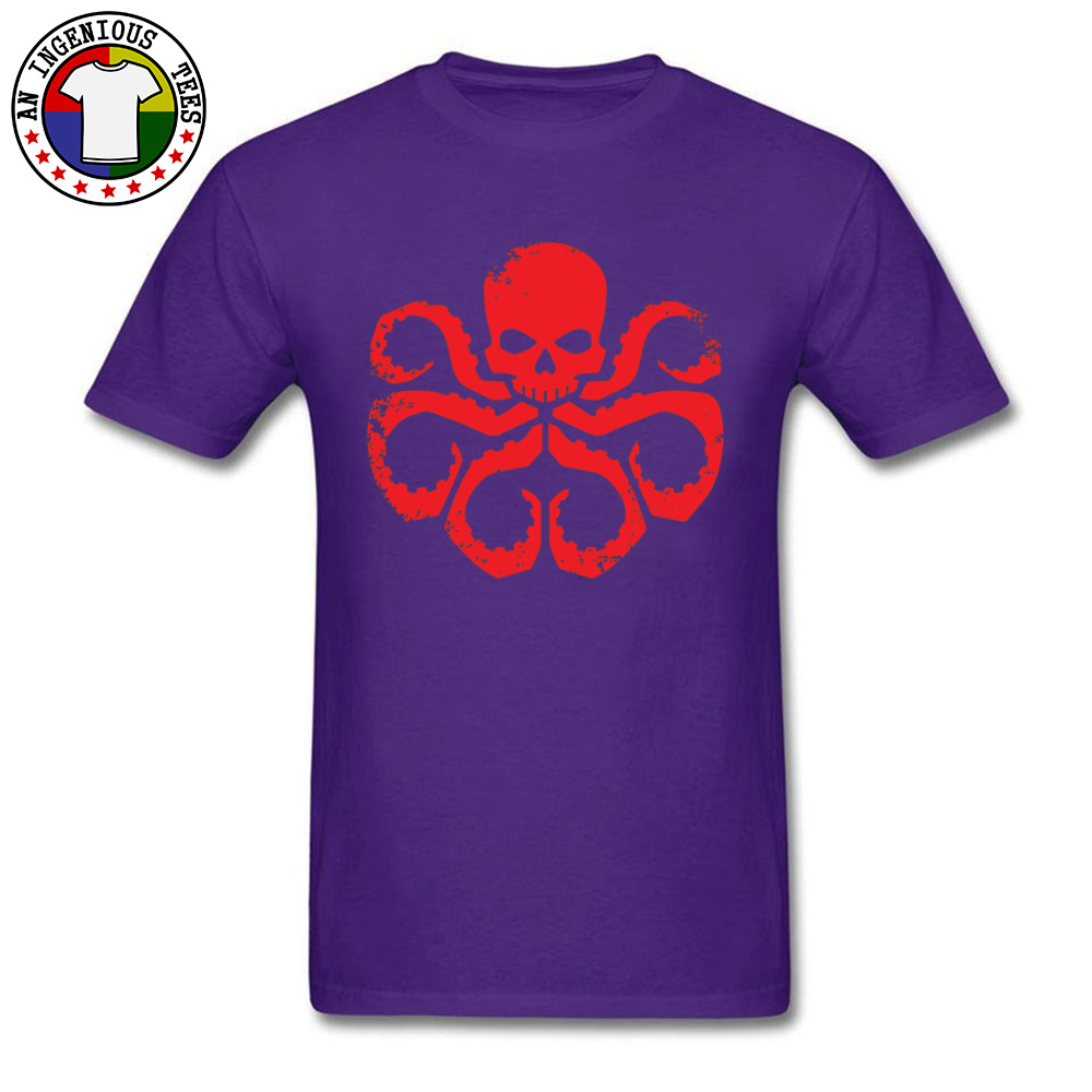 Slim FitCustom Short Sleeve T Shirt Summer Classic O Neck 100% Cotton T Shirt Men Tshirts HYDRA Badge - Red -5003  HYDRA Badge - Red -5003 purple