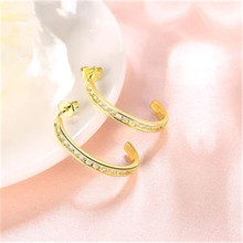 Yellow Color Stud Earrings Round Fashion Jewelry Zircon Rectangle arrings For Women Eh121