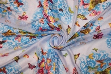 150cm width printed chiffon fabric butterfly with flower light blue CH194-F