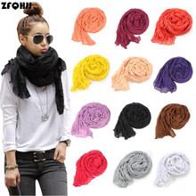 ZFQHJJ 170x90cm Lady Long Wrinkle Crinkle Scarf Collar Cotton Voile Scarves for Women Wrap Shawl Stole Hijab Pure 24 Candy Color(China)