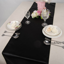 "5 Pieces Black 12""x108"" Satin Table Runner Wedding Event Party Supply Decorations Many Colors for Choose(China)"