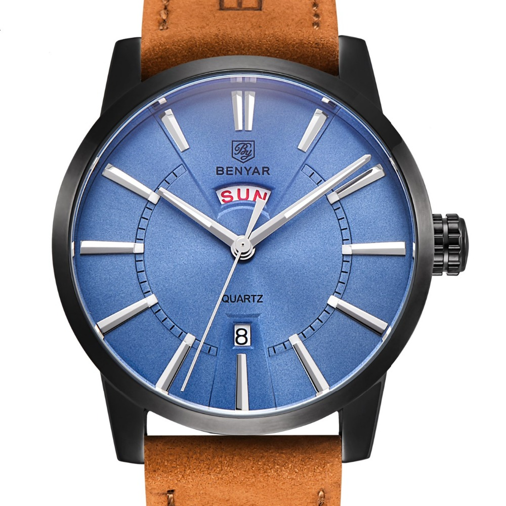 Mens Watches Top Brand Luxury Watches Blue Matte Surface Genuine Leather Fashion Quartz Watch Male Clock Relogio Masculino<br>