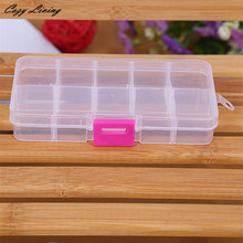 10 Grids Adjustable Jewelry Beads Pills Nail Art Tips Storage Box Case Transparent Plastic Storage Box Flexible Useful