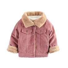2017 Corduroy Coats Jackets Winter Baby Girls Clothes Boys Full Sleeve Kids Outerwear Casual Hidden Discount Children Overcoat(China)