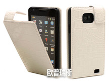 white Crocodile genuine Leather Flip Case Cover for samsung galaxy sII S2 i9100,free shipping(China)