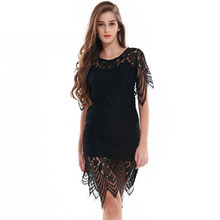 2017 Fashion New Elegant Casual O-Neck Short-sleeved Lace Patchwork Women Dress Sexy Slim Package Hip Summer Drees Women