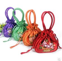 Handmade Ribbon Embroidery Tote Coin Purse Large Gift Bag Drawstring Silk Cloth Candy Storage Pouches Women Phone Wallet 10pcs(China)
