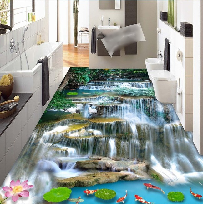 3 d pvc flooring custom wall sticker mountain flowing water falls 3 d bathroom flooring painting photo wallpaper for walls 3d<br>