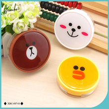 Lymouko Cartoon Round Little Brown Bear Portable Kit Holder Contact Lens Case with Mirror Lenses Box for Women(China)