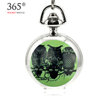 2016 Fashion Design Quartz 3.5cm Mini Owl Pendant Enamel White Steel Mirrored Pendant Necklace Pocket Watch