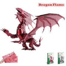 Piececool 2016 Newest 3D Metal Puzzles of Dragon Flame Red & Silver Color 3D Assemble Model Kits DIY Funny Gifts for Kids Toys