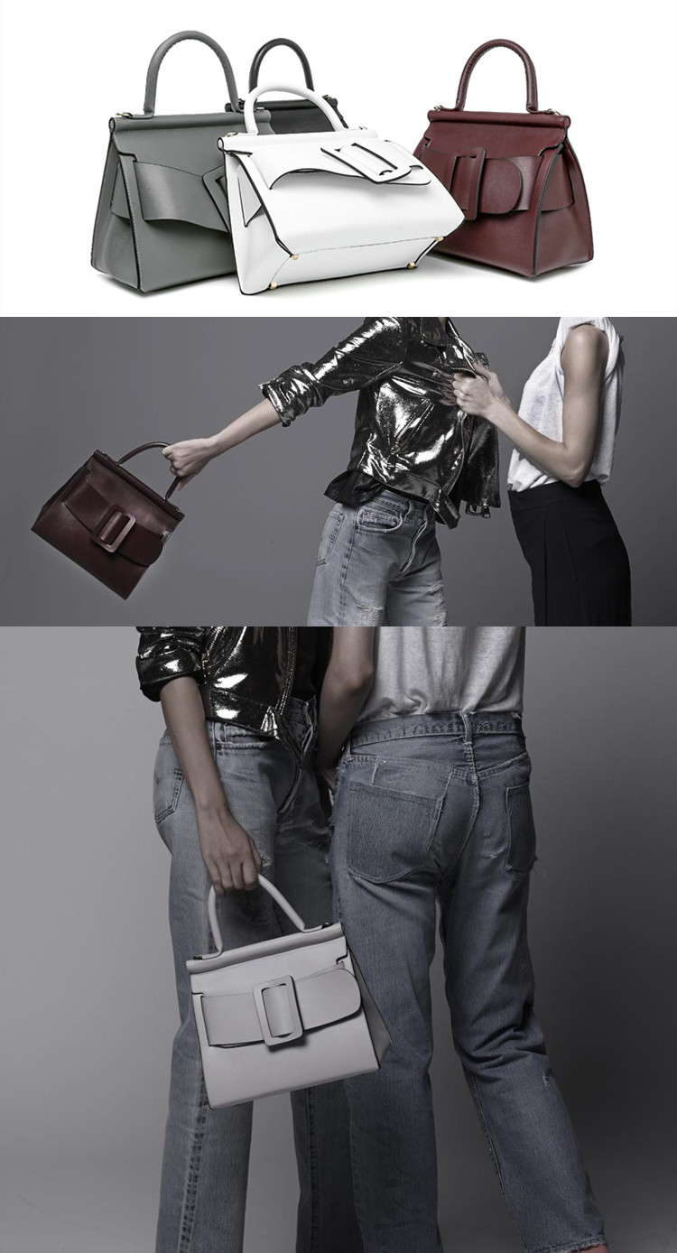 Famous Brand Designer Handbag Genuine Leather Women Vintage Bark Grain Big Buckle Handle bags with strap belt Boyy (1)