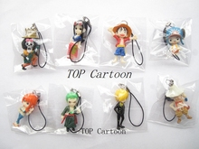 Free Shipping 8pcs/set Cartoon Japanese Anime ONE PIECE Action Figures Cell Phone Strap Charms For Best Gifts G-49(China)
