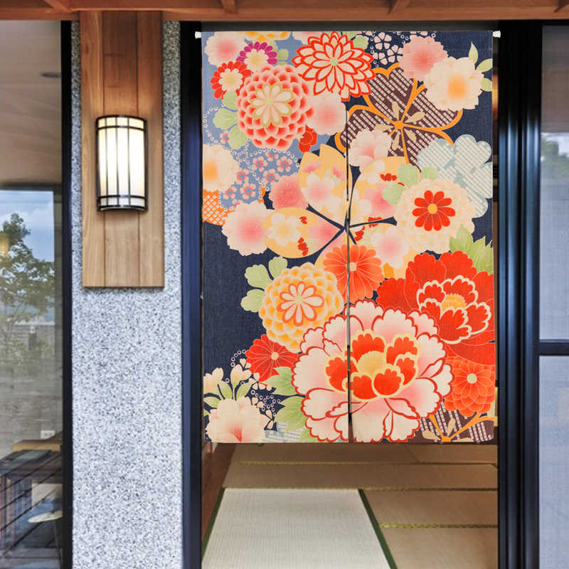 Japanese Red Flower Moon Door Curtain Linen Tapestry Study Bedroom Home Decor Kitchen Curtain Customizable 85x120cm/85x90cm